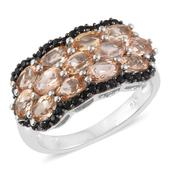 Imperial Topaz, Thai Black Spinel Platinum Over Sterling Silver Ring (Size 8.0) TGW 3.88 cts.