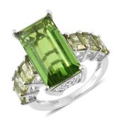 Chartreuse Quartz, Hebei Peridot Platinum Over Sterling Silver Ring (Size 8.0) TGW 14.75 cts.