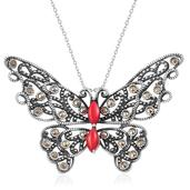 Coral, Swiss Marcasite Sterling Silver Butterfly Pendant With Chain (18 in) TGW 2.58 cts.