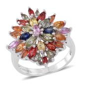 Multi Sapphire Sterling Silver Ring (Size 8.0) TGW 4.03 cts.