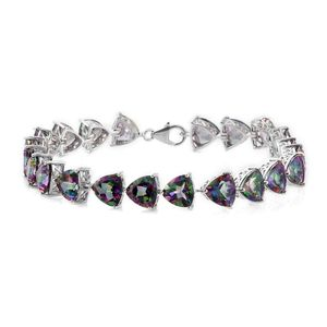 Northern Lights Mystic Topaz Platinum Over Sterling Silver Bracelet (8.00 In) TGW 45.90 cts.