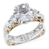 Petalite, White Topaz 14K YG and Platinum Over Sterling Silver Euro Ring (Size 5.0) TGW 3.90 cts.