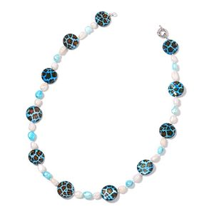 Cheetah Print Blue Shell, Freshwater White and Blue Pearl Silvertone Necklace (22 in)