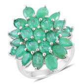 Brazilian Emerald Sterling Silver Ring (Size 8.0) TGW 6.95 cts.