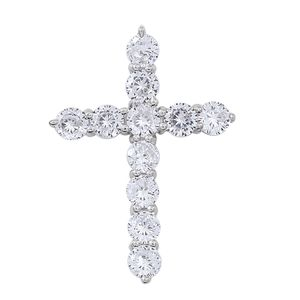 Simulated White Diamond Sterling Silver Cross Pendant without Chain TGW 0.25 cts.