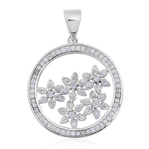 Simulated White Diamond Sterling Silver Floral Pendant without Chain TGW 1.00 cts.