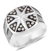 Swiss Marcasite Stainless Steel Men's Star Signet Ring (Size 12.0) TGW 0.48 cts.