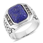 Lapis Lazuli, Swiss Marcasite Stainless Steel Men's Ring (Size 12.0) TGW 5.16 cts.