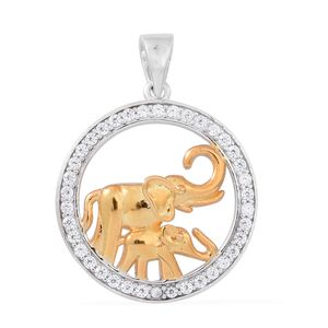 Simulated White Diamond 14K YG Over and Sterling Silver Elephant Pendant without Chain TGW 0.60 cts.