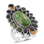 Artisan Crafted Mojave Green Turquoise, Multi Gemstone Sterling Silver Elongated Ring (Size 7.0) TGW 15.77 cts.