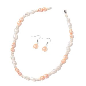 Freshwater Peach and White Pearl Stainless Steel Earrings and Necklace (18 in)