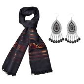 Black Resin Black Oxidized Stainless Steel Earrings and Black 100% Polyester Scarf (23.63x70.87 in) TGW 135.00 cts.