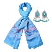 Light Blue Resin Black Oxidized Stainless Steel Earrings and Light Blue 100% Polyester Scarf (23.63x70.87 in) TGW 135.00 cts.
