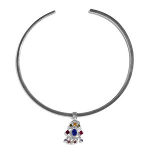 KARIS Collection - Platinum Bond Brass Pendant With Silvertone Necklace Made with SWAROVSKI Multi Color Crystal (16 in) TGW 1.52 cts.
