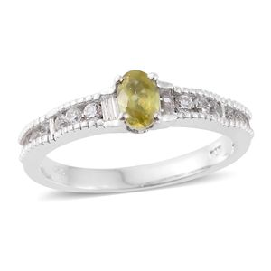 Madagascar Sphene, Cambodian Zircon Platinum Over Sterling Silver Ring (Size 7.0) TGW 1.12 cts.