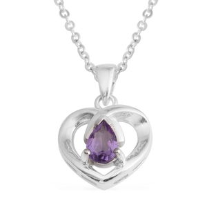 Amethyst Silvertone Heart Pendant With Stainless Steel Chain (18 in) TGW 0.60 cts.
