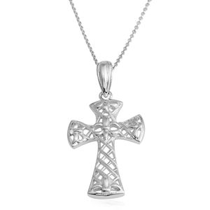 Silvertone Cross Pendant With Chain (18 in)