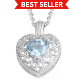 Sky Blue Topaz Silvertone Heart Pendant With Chain (18 In) TGW 0.92 cts.