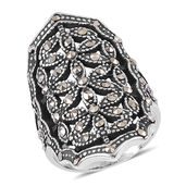 Swiss Marcasite Stainless Steel Elongated Openwork Ring (Size 6.0) TGW 0.45 cts.
