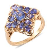 Tanzanite, Cambodian Zircon 14K YG Over Sterling Silver Ring (Size 8.0) TGW 2.25 cts.