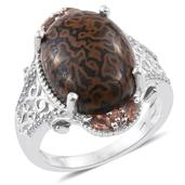 Dino Bone, Jenipapo Andalusite, Cambodian Zircon Platinum Over Sterling Silver Ring (Size 8.0) TGW 12.21 cts.