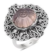 Artisan Crafted Galilea Rose Quartz Sterling Silver Carved Flower Ring (Size 7.0) TGW 10.94 cts.