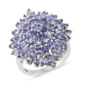 Tanzanite Platinum Over Sterling Silver Ring (Size 5.0) TGW 7.32 cts.