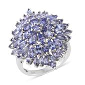 Tanzanite Platinum Over Sterling Silver Ring (Size 8.0) TGW 7.32 cts.