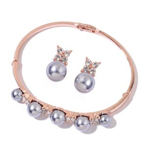 Simulated Gray Pearl, White Austrian Crystal Rosetone Bangle (8 in) and Stud Earrings