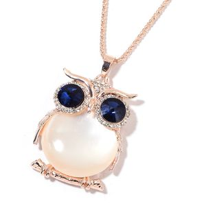 White Chroma, Blue Glass, White Austrian Crystal Rosetone Owl Pendant With Chain (28 in)