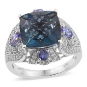 Indicolita Quartz, Tanzanite, Cambodian Zircon Platinum Over Sterling Silver Ring (Size 8.0) TGW 9.39 cts.