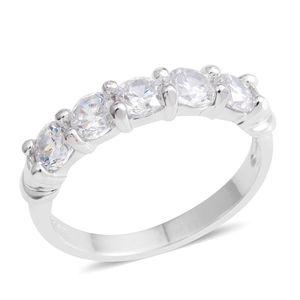 Simulated Diamond Silvertone 5 Stone Band Ring (Size 9.0) TGW 2.15 cts.