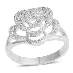 Simulated Diamond Silvertone Flower Split Ring (Size 8.0) TGW 1.11 cts.