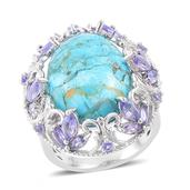 Mojave Blue Turquoise, Tanzanite 14K YG Over and Sterling Silver Ring (Size 10.0) TGW 12.65 cts.