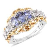 TLV Tanzanite, White Topaz 14K YG and Platinum Over Sterling Silver Ring (Size 7.0) TGW 3.06 cts.