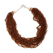 Dark Brown Multi Strand Seed Bead Necklace with Toggle Button Clasp (22 in)