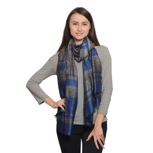 Gray and Blue Jacquard 100% Modal Reversible Scarf (80x28 in)