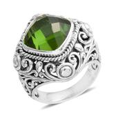 Bali Legacy Collection Chartreuse Quartz Sterling Silver Ring (Size 6.0) TGW 7.13 cts.