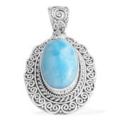 Bali Legacy Collection Larimar Sterling Silver Pendant without Chain TGW 15.60 cts.