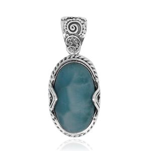 Bali Legacy Collection Larimar Sterling Silver Pendant without Chain TGW 15.19 cts.