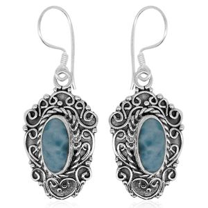 Bali Legacy Collection Larimar Sterling Silver Earrings TGW 6.87 cts.