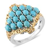 Arizona Sleeping Beauty Turquoise 14K YG and Platinum Over Sterling Silver Ring (Size 9.0) TGW 3.25 cts.