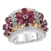 Deepak's Dazzling Deals Niassa Ruby, Multi Gemstone 14K YG and Platinum Over Sterling Silver Ring (Size 7.0) TGW 8.36 cts.