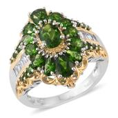 Russian Diopside, Cambodian Zircon 14K YG and Platinum Over Sterling Silver Ring (Size 9.0) TGW 5.17 cts.