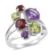Multi Gemstone Platinum Over Sterling Silver Ring (Size 6.0) TGW 4.83 cts.