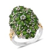 Russian Diopside, Cambodian Zircon 14K YG and Platinum Over Sterling Silver Ring (Size 8.0) TGW 6.45 cts.