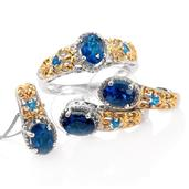 Deepak's Dazzling Deals Malgache Neon Apatite 14K YG and Platinum Over Sterling Silver J-Hoop Earrings, Ring (Size 5) and Pendant With Chain (20 in) TGW 4.05 cts.