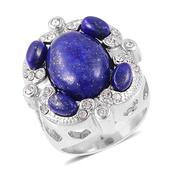 Lapis Lazuli, White Austrian Crystal Stainless Steel Ring (Size 9.0) TGW 15.00 cts.