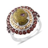 Tasmanian Stichtite, Mozambique Garnet 14K YG and Platinum Over Sterling Silver Ring (Size 7.0) TGW 7.17 cts.