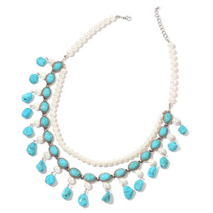 Blue Howlite, Simulated Pearl Silvertone Double Strand Charm Bib Necklace (22 in) TGW 406.50 cts.
